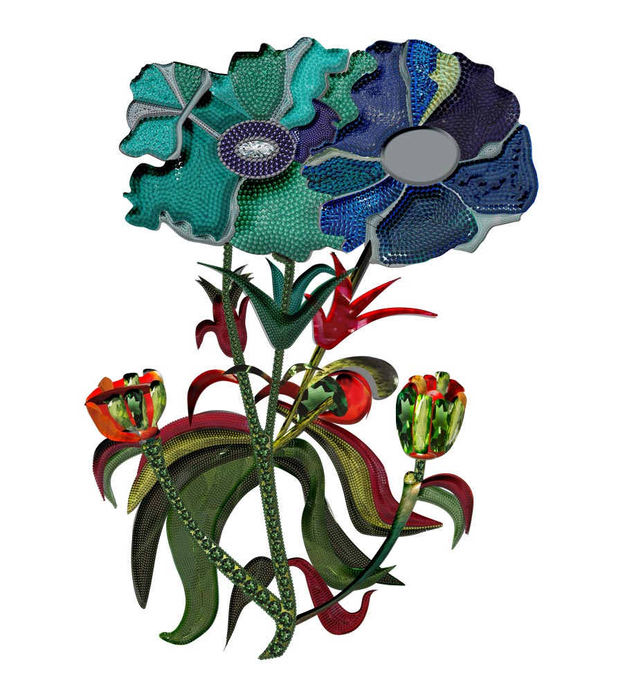 Flower Couple belonging to the third collection by Karmele Jewelry Design