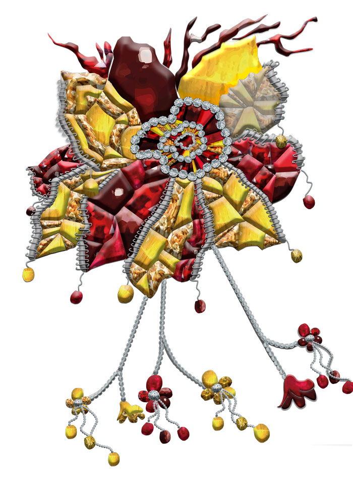 Large flower jewel belonging to the third collection by Karmele Jewelry Design